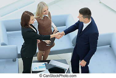 Business people shaking hands during a meeting - An...