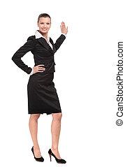 mujer, empresa / negocio, pared, puntos, sonriente, anunciar