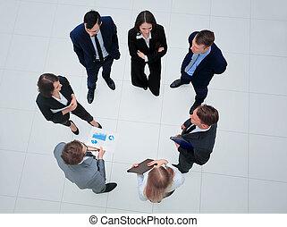 上, 光景, グループ, ビジネス, 人々