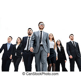 Group of business people. Isolated over white background -...
