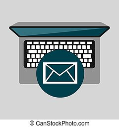 person working laptop email social media graphic