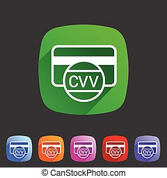 CVV card security code credit icon flat web sign symbol logo...