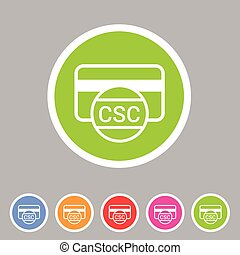 CSC card security code credit icon flat web sign symbol logo...