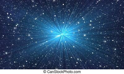 blue flash on many stars backgrounds
