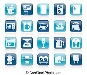 kitchen appliances and kitchenware icons - vector icon set