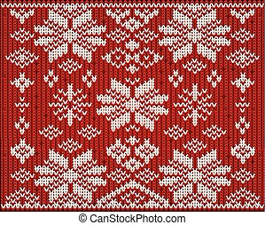 Knitted winter background, vector illustration