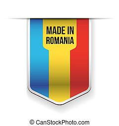 Made in Romania flag ribbon vector