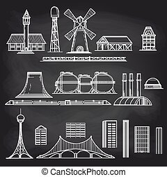 Country and city objects on chalkboard