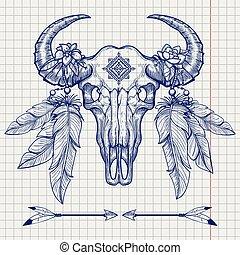 Buffalo skull ball pen sketch - Hand drawn buffalo skull...