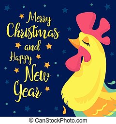 Merry Christmas and happy New Year memory card. Vector   congratulation design. Rooster, cock portrait cartoon illustration. Chinese  symbol 2017.