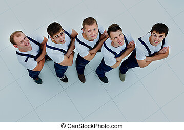 Group of professional industrial workers. top view