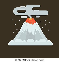 Volcano illustration. - Volcano magma nature blowing up with...