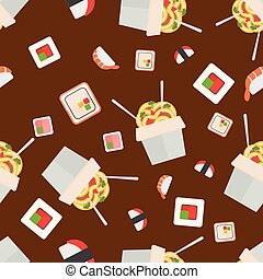 Sushi food vector seamless pattern