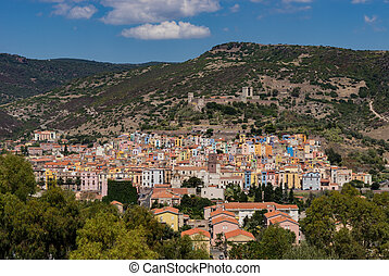View of the small town of Bosa in Sardinia
