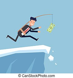 Businessman or manager is running after money to a steep cliff. Inattentive man in business suit goes the edge of the mountain. Vector, illustration EPS10.
