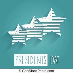 Presidents Day. Handwritten text on blue background with...