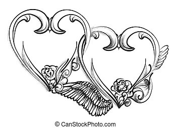 two hearts sign, isolated on white background
