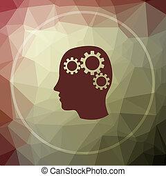 Brain icon. Brain website button on khaki low poly...