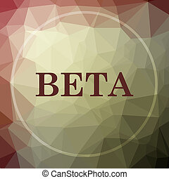 Beta icon. Beta website button on khaki low poly background.