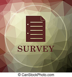 Survey icon. Survey website button on khaki low poly...