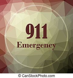 911 Emergency icon. 911 Emergency website button on khaki...