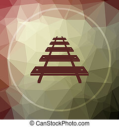 Rail road icon. Rail road website button on khaki low poly...