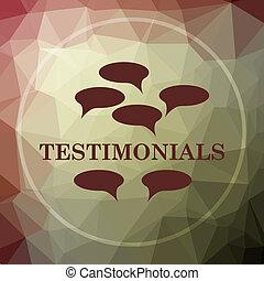 Testimonials icon. Testimonials website button on khaki low...