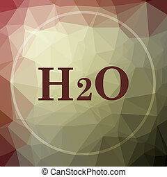 H2O icon. H2O website button on khaki low poly background.