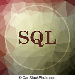 SQL icon. SQL website button on khaki low poly background.