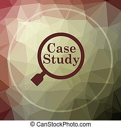 Case study icon. Case study website button on khaki low poly...
