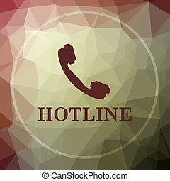 Hotline icon. Hotline website button on khaki low poly...