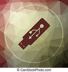 Usb flash drive icon. Usb flash drive website button on...