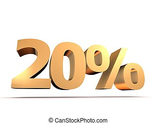 20% - 3d rendered illustration of a golden number