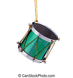 Green Christmas Drum Ornament - A green Christmas tree drum...