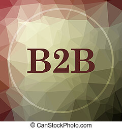 B2B icon. B2B website button on khaki low poly background.