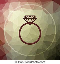 Diamond ring icon. Diamond ring website button on khaki low...