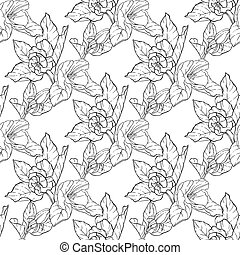 Seamless pattern with apple blossom. Round kaleidoscope of...