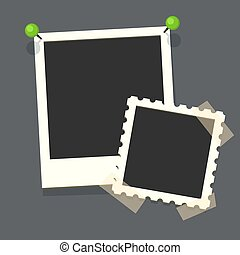 Big and small retro flat vector photo frames on transparency...