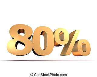 80 - 3d rendered illustration of a golden number