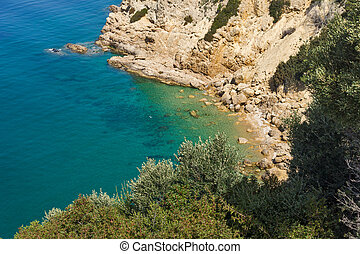 Amazing panorama with blue waters in Thassos island, East...