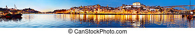 Porto twilight panorama, Portugal - Panoramic view of Porto...