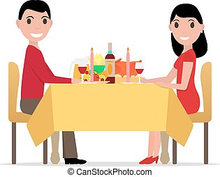 Vector cartoon romantic dinner by candlelight