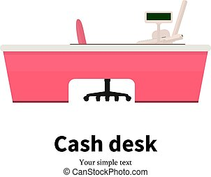 Vector of colored cash desk at a supermarket - Vector...