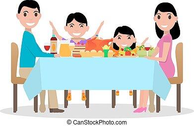 Vector cartoon happy family festive dinner table