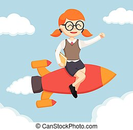 nerd girl sit on rocket and flying