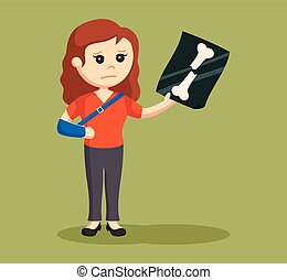 woman broken arm vector illustration