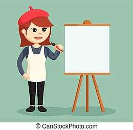 woman painter with empty canvas