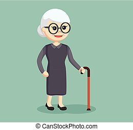old woman with walking stick