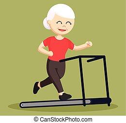 old woman running on treadmill