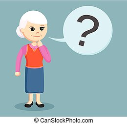 old woman with question mark callout